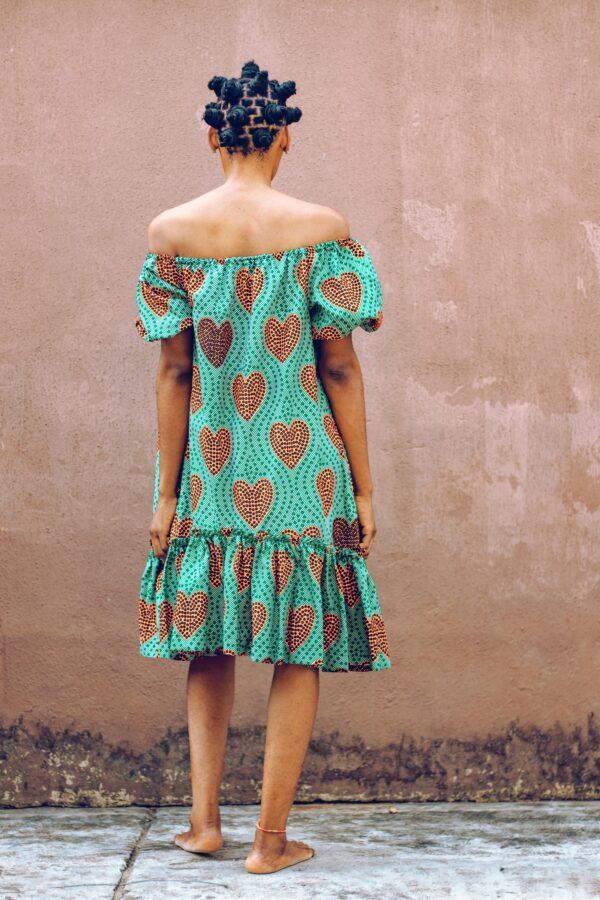 Off sholder Over size Dress (Green)