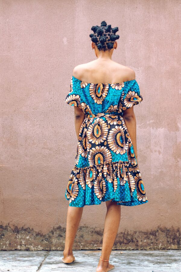 Off sholder Over size Dress (Blue/Brown)