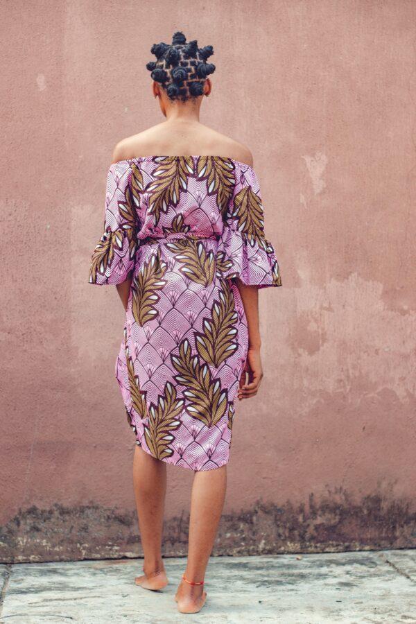 Wrap puff Sleeve Dress (Pink/Brown)