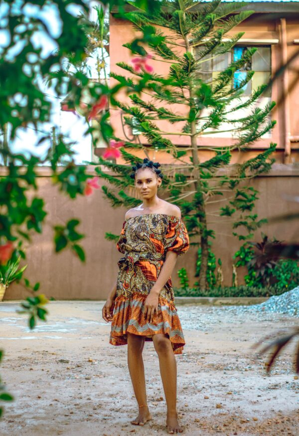 Off sholder Over size Dress (Brown mix)