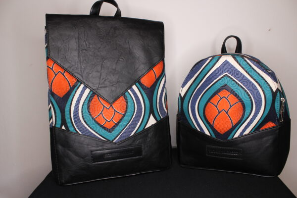 Small Ankara Bag (Orange Flower)