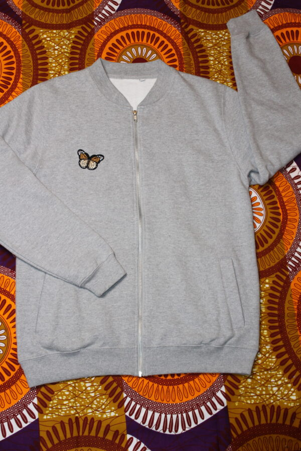 Bomber Jacket Unisex Grey Butterfly