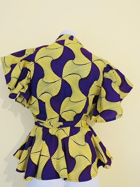 Wrap butterfly sleeve Blouse (Yellow/Purple)
